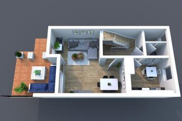 3D Grundriss Erdgeschoss